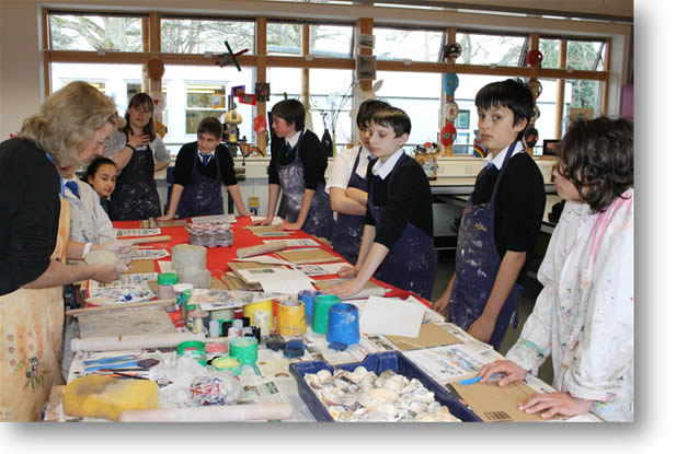 Angie Child (Ceramicist) with Pupils of Park School. Woking